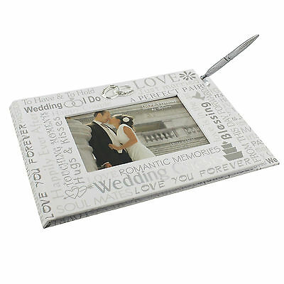 Wedding Bridal Guest Book With Pen White & Silver Double Ring  SKU 100323