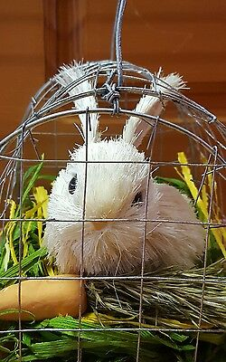Adorable  Unique handmade bunny rabbit in cage