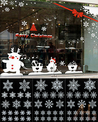 57 REUSABLE WHITE CHRISTMAS SNOWFLAKES WINDOW STICKERS SELF CLINGS Decor UK