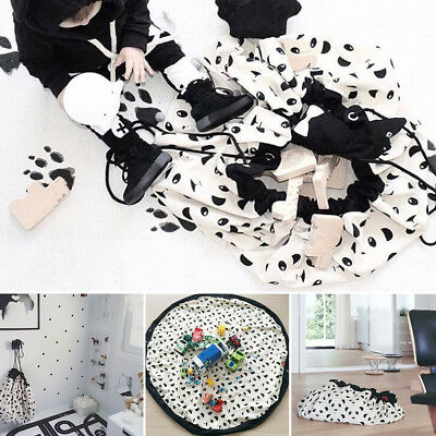 Large Panda Portable Baby Kids Toy Storage Bags Play Mat Toys Organizer Rug Box