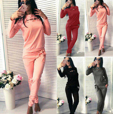 2Pcs Fashion Women Tracksuit Sweatshirt Pants Sets Sport Wear Straps Casual Suit