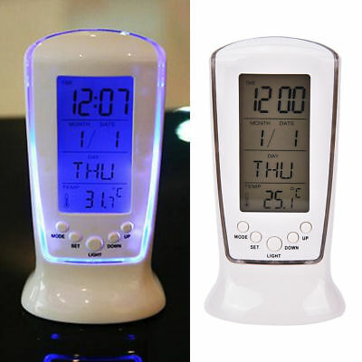 1PC Digital Backlight LED Display Table Alarm Clock Snooze Thermometer Calendar