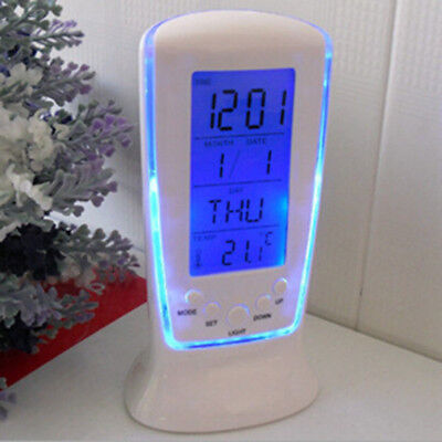 Backlight Table Desk Alarm Clock Snooze Thermometer Calendar Digital LED Display
