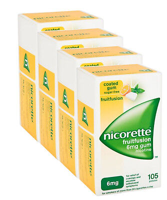 Nicorette Fruitfusion Gum 6mg 105 Pieces Nicotine - Total 420 Pcs - Pack of 4
