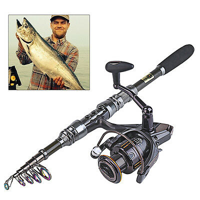Rod and Reel Combos Travel Telescopic Fishing Rod with Spinning Fishing Reel Set
