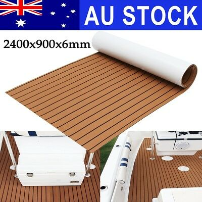 AU Marine Flooring Teak EVA Foam Boat Decking Sheet 240x90cm Self-Adhesive Brown