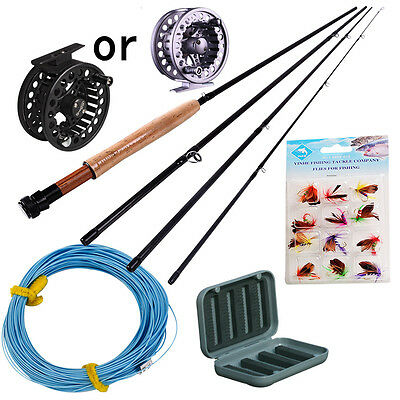 Fly Fishing Rod with Metal Fly Reels and Fly Wheel Line Lures Combo Kit