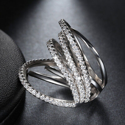 Fashion Women Crystal CZ Cubic Zirconia Criss Cross Band Cocktail Ring Size 5-9