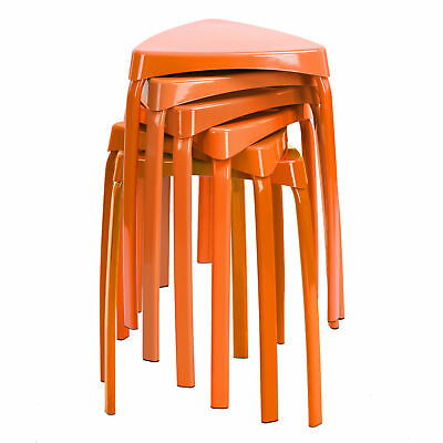 Lot Chaises Plastique Orange Vintage Design 70 Gilac France Deco