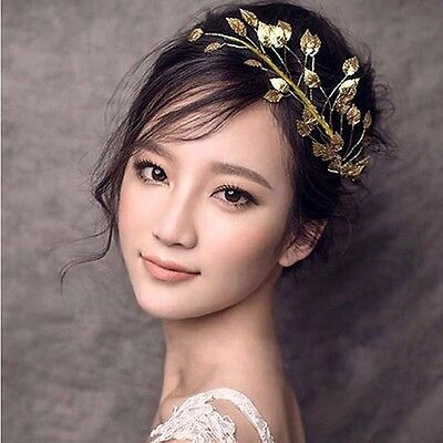 Gold Leaf Bridal Hair ACCESSORY Headband Wedding Clip Fascinator Racing Metal