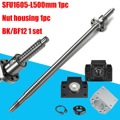 Ball Screw SFU1605 RM1605 L500mm End Machined & BK/BF12 + Ballscrew Nut Housing