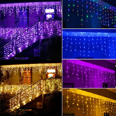 216LED 5M Icicle Snowing Xmas String Curtain Fairy Lights Garden Christmas Party