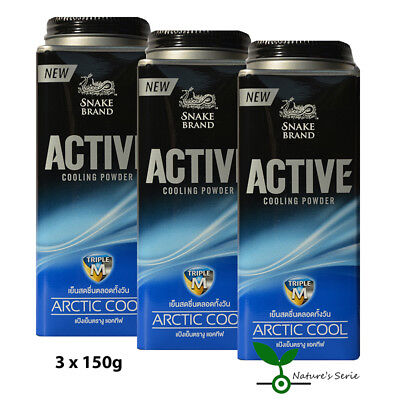 3x150g Snake Brand Prickly Heat Körperpuder ACTIVE ARCTIC COOL - Cooling Powder