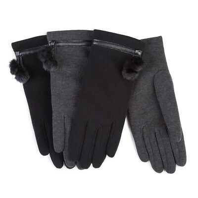 Isotoner Ladies Thermal Glove with Faux Fur & Pom Pom