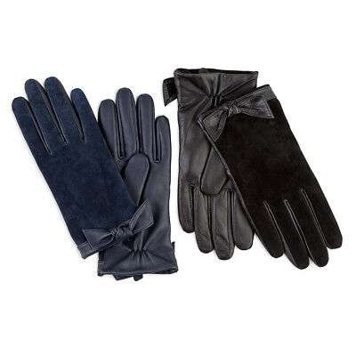 Isotoner Ladies Leather & Suede Glove with Bow Cuff