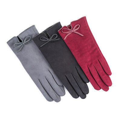 Isotoner Ladies Faux Suede Fabric Glove with Vent & Bow