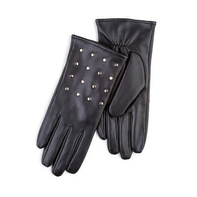 Isotoner Ladies Leather Glove with Studs