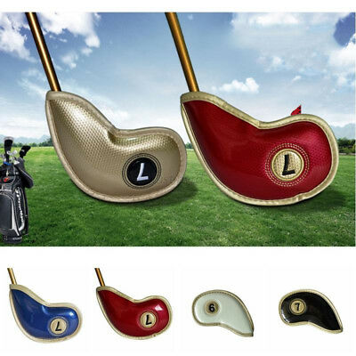 AS_ 10Pcs/Set Faux Leather Golf Iron Head Covers Club Putter Headcovers Eyeful