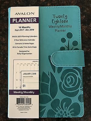 16 Month Daily/Weekly/Monthly Calendar Planner Sept 2017-Dec 2018 Teal AVALON