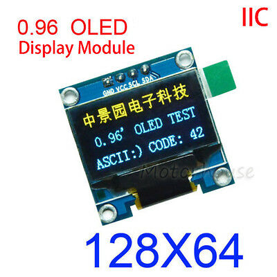 "B&Y 0.96"" I2C IIC 128X64 OLED LCD Screen Display Module SSD1306 Arduino 3.3v 5v"