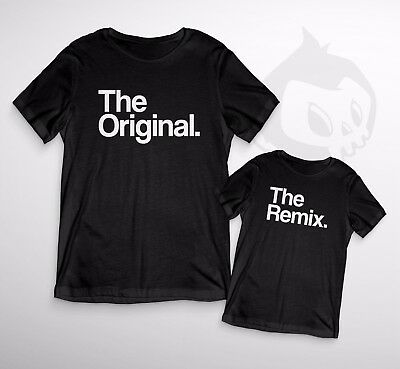 Original & Remix Duo T-Shirts - Dad Son Mum Novelty Funny Music Cute Matching