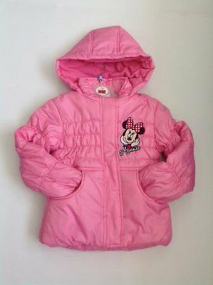 Girls Disney Minnie Mouse Fleece Lined Hooded Jacket 2-8 Years