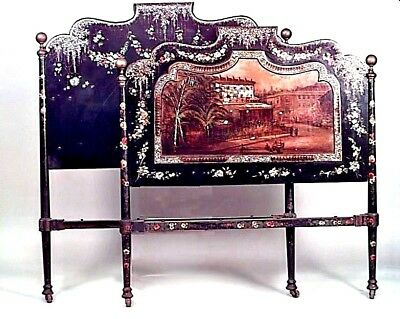 English Victorian Papier Mache Full Size Bed