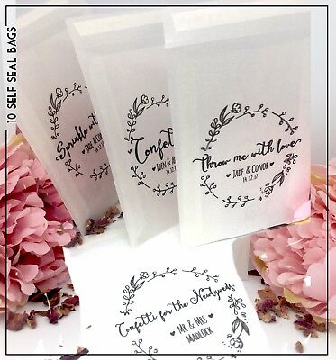 10 Personalised glassine Confetti Favour Treat Sweet grow me love Wedding Bags