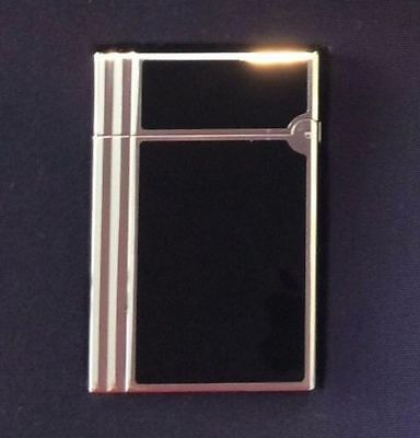 S.t. Dupont Gatsby Lighter (Used) In Black/silver The Set W/ Cutter & Cigar Case