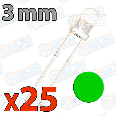 25x LED 3mm VERDE Alto Ultra Brillo ultrabright 20mA diodo diode green