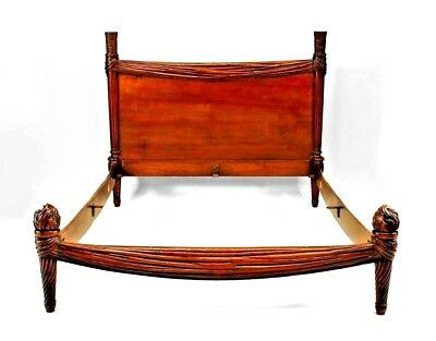 French Louis XVI Style (19/20th Cent.) Walnut Swag Carved Bed