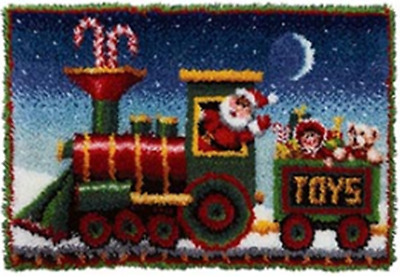 Xmas Train Printed Canvas Latch Hook Rug Kit  - Everything included 85cm X 65cm