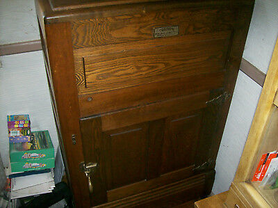 "Antique Oak Wood Ice Box ""triumph""- Vintage Early 1900's."