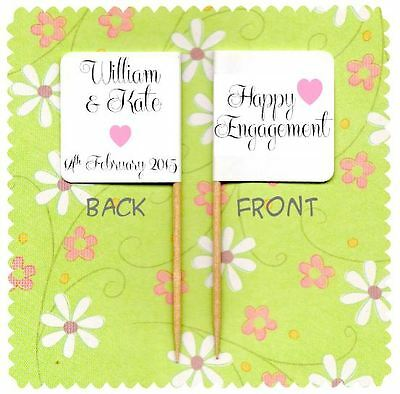 20 PERSONALISED HAPPY ENGAGEMENT CUP CAKE FLAG Topper Decoration Vintage Engaged