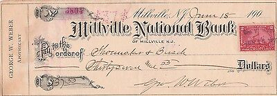 1900  Millville, New Jersey Old Check  Millville National Bank   W/revenue