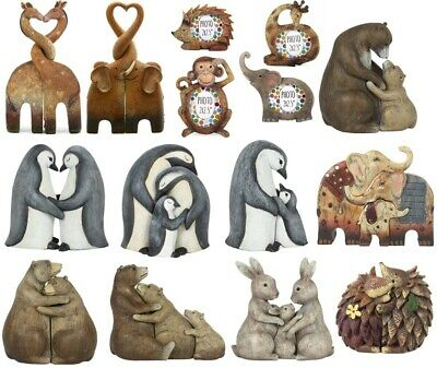 Entwined Kissing Elephant Giraffe Family Ornament Photo Picture Frame ty