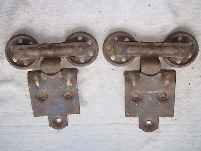2 Vintage Barn Shed Door Trolley Track Rollers #1