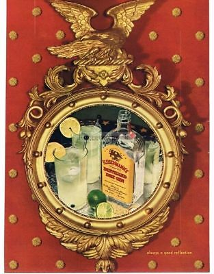 1939 FLEISCHMANN'S Gin Reflected in Ornate Mirror VTG PRINT AD Man Cave