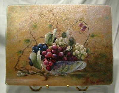 """Vintage Glass Cutting Board Vineyard Breeze by Lisa White Artist Signed 15"""""""