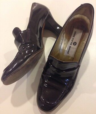 Saks Fifth Avenue Womens Heels Shoes Size 6 Leather Italy Brown Sparkly