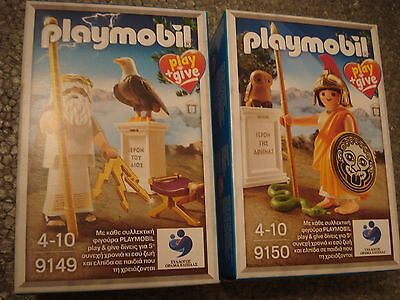 COLLECTIBLE Playmobil 9149 & 9150 Play+Give Ancient Greek gods ZEUS and ATHINA