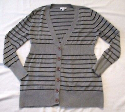 Liz Lange Maternity Target Black Gray Striped Long Cardigan Sweater Size Large