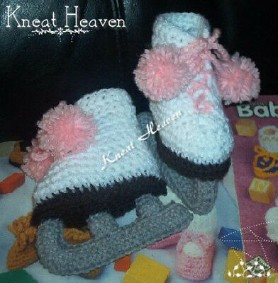 Boutique Kneat Heaven Crochet Ice Skates Baby Booties