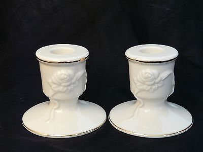 Lenox Pair of Embossed Roses and Ribbons Candle Holders