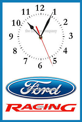 Ford Racing Wall Clock. Great Gift For Mechanic, Ford Guy, Work-Shop Etc