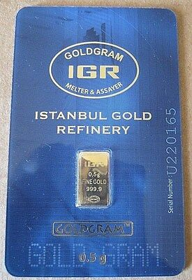1/2 gram .5 g gold IGR mint assay .9999 bar $0 Ship w/track