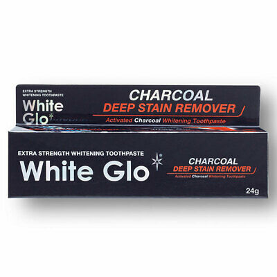 White Glo Charcoal Deep Stain Remover Travel Toothpaste 24g