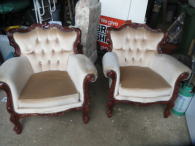 Vintage French Louis Style Armchairs ~ Shabby Chic