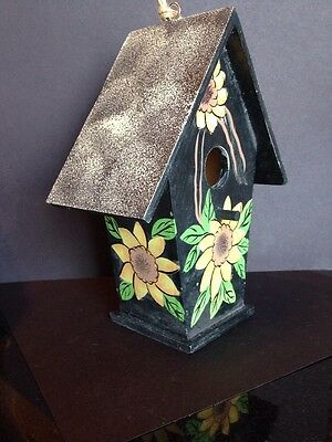 "Decorative BIRDHOUSE Wood ""SUNFLOWER"" Hand Painted"