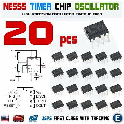 20pcs NE555P IC 555 TEXAS INSTRUMENTS DIP-8 Timer Chip NE555
